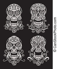Day of The Dead Skull Tattoo Set - fully editable vector...