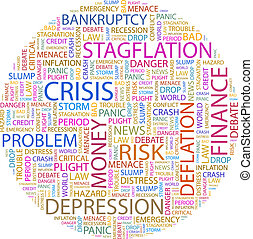 CRISIS Concept illustration Graphic tag collection Wordcloud...