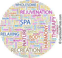 SPA Word cloud illustration Tag cloud concept collage