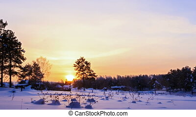Winter landscape in the morning. Time Lapse