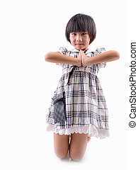 Liitle Asian child welcome expression Sawasdee.