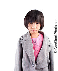 Portrait of a girl wearing oversized suit
