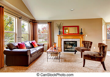 Cozy living room with fireplace - Vaulted ceiling living...