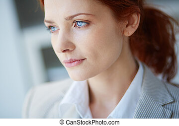 Waiting - Close-up of a pensive female face