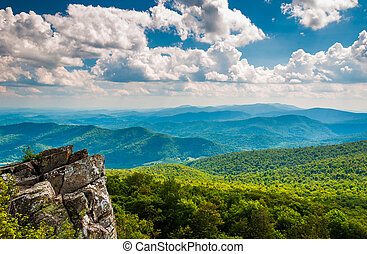 Cliffs and view of the Blue Ridge Mountains from North...