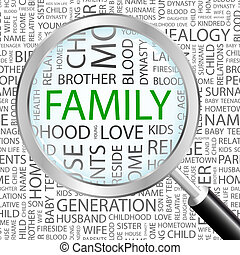FAMILY. Word cloud concept illustration. Wordcloud collage.