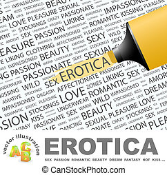 EROTICA. Background concept wordcloud illustration. Print...