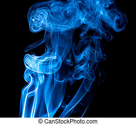 Blue smoke isolated on black backgr