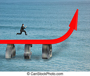 Businessman running on growing red arrow over sea