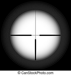 Rifle sight - Black-and-white crosshair with blank space...