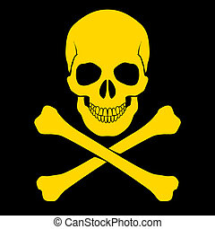 Skull and cross-bones - Yellow skull and cross-bones on...