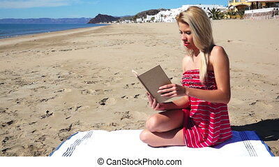 Girl on Beach in Sundress Reading - Pretty, young girl dolly...