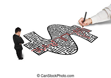 Hand drawing solution on money shape maze for a businessman...