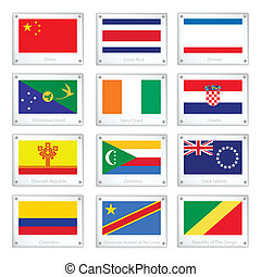 A Set of National Flags on Metal Texture Plates