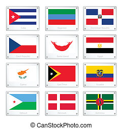 The National Flags on Metal Texture Plates - National Flags...