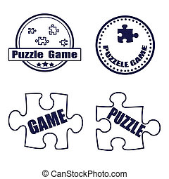 puzzle game grunge stamp whit on vector illustration