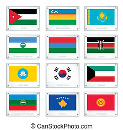 A Collection of National Flags on Metal Texture Plates -...