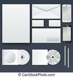Corporate identity templates — blank, business cards, disk, envelope, smart phone, pen. Isolated with soft shadows