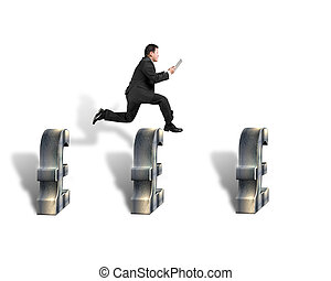 Businessman jumping over 3d pound symbols isolated in white...