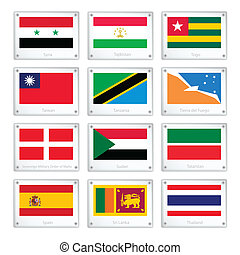 A Set of Countries Flags on Metal Texture Plates - National...