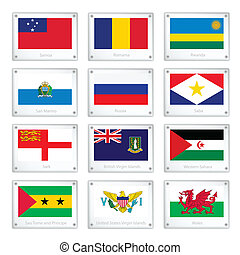 Twelve Countries Flags on Metal Texture Plates - National...