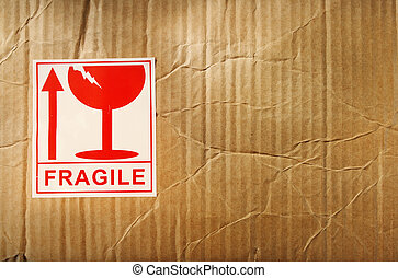 Fragile label on cardboard box
