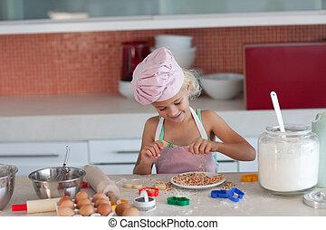 cocinero, Cómo, niño, enseñanza, madre