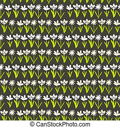 Grunge pattern with small hand drawn flowers. - Grunge...