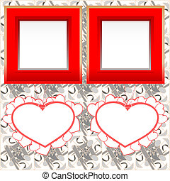 two blank instant photo frames with heart shapes on wooden...
