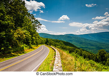 Skyline Drive and view of the Blue Ridge Mountains, in...