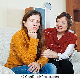 maduras, mãe, pergunta, Perdão, adulto, filha,...