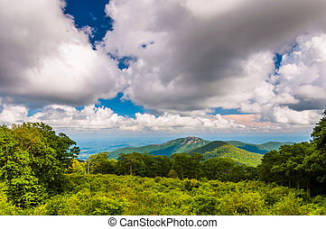 View of Old Rag Mountain from Thoroughfare Overlook in Shenandoah National Park, Virginia.