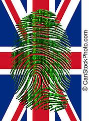 UK Flag with Binary Fingerprint