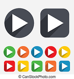 Arrow sign icon Next button Navigation symbol Circles and...