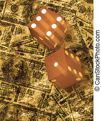 Dice roll on grunge US currency background