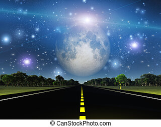 Empty road and space filled with stars