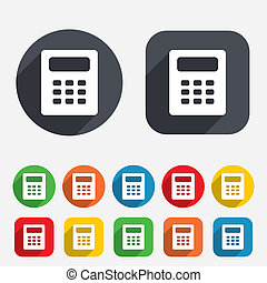 Calculator sign icon. Bookkeeping symbol. Circles and...