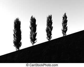 Tree silhouettes on a slope - 3d render of poplar trees on a...