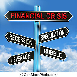 Financial Crisis Signpost Showing Recession Speculation...