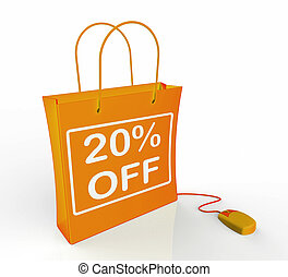 Twenty Percent Off Bag Shows Online Sales and 20 Discounts