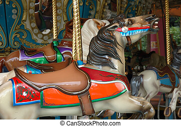Carousel horse - Details of carousel horse on merry go round