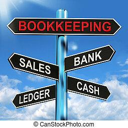 teneduría de libros, señal, medios, ventas,...