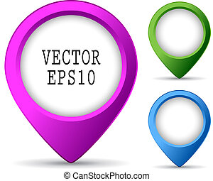 Location pin buttons isolated on white