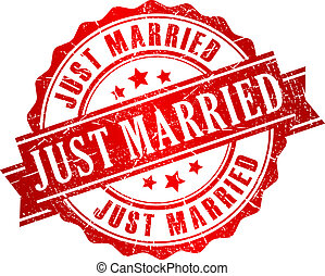 Just married vector stamp isolated on white