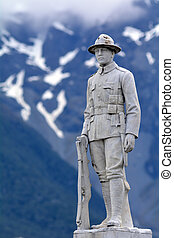 Statue of a New Zealand Mounted Rifles Brigade soldier -...