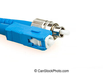 blue fiber optic SC connector and FC type connector on white...