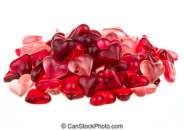 Brightly coloured red gums hearts as valentine present...