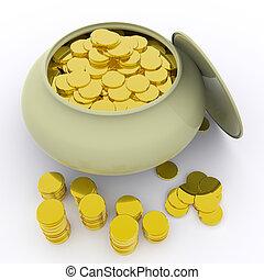pote, de, Ouro, meios, Dinheiro, ou, sorte