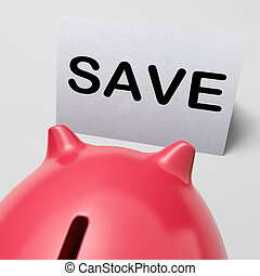 Save Piggy Bank Shows Product Discounts And Bargains - Save...