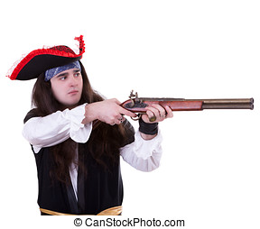 Pirate with a musket on white background studio shooting